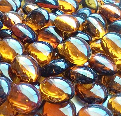 Creative Stuff Glass - 2 LB Amber - Glass Gems - Vase Fillers