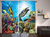 Ocean Decor Collection Fishes and Old Turtle Hawksbill Floats under Water between Coral Reefs Aquatic Environment Picture Living Room Bedroom Curtain 2 Panels Set