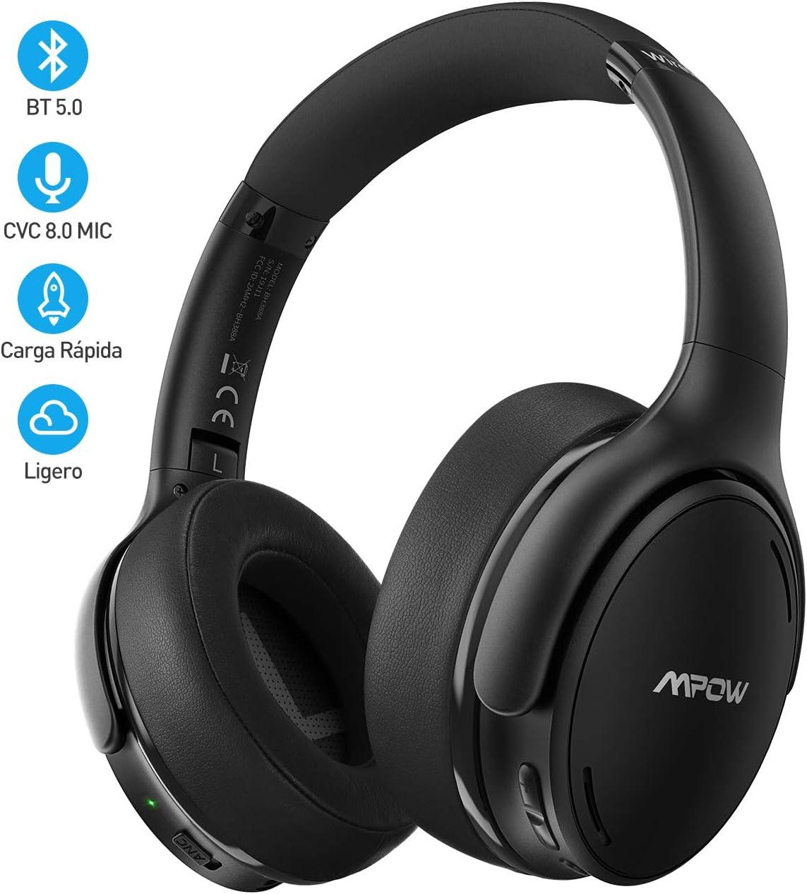 [Nuevo] Mpow H19 IPO Cascos con Cancelación de Ruido, BT 5.0, 35 Horas de Reproducir, Auriculares con Cancelación de Ruido con Hi-Fi Sonido, Auriculares Diadema Bluetooth TV, PC, Tableta, Móvil