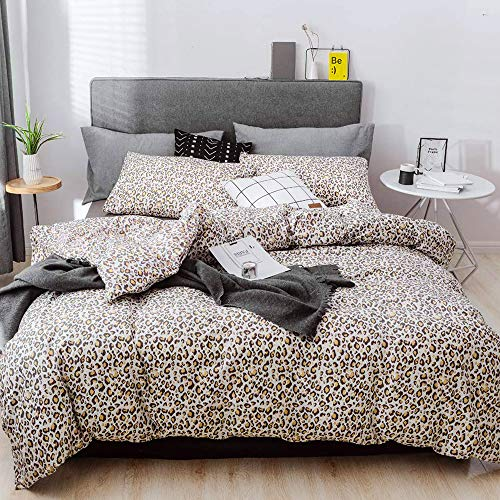 - mixinni Leopard Print Duvet Cover Set, 3 Pieces Duvet Cover Set 100% Natural Cotton Queen/Full Quality Luxury Bedding with Pillow Shams, Ultra Soft & Easy Care(3pcs, Queen Size)