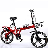 Viqie Portable Folding Bicycle Single Speed Adult Student Outdoor Sport Bicycle with Basket,Water Bottle and Holder,Red…