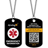 Dynotag SuperAlert Smart Medical ID with Detailed Online Profile; Military Style Steel Pendant & Chain Set, with Lifetime Sub