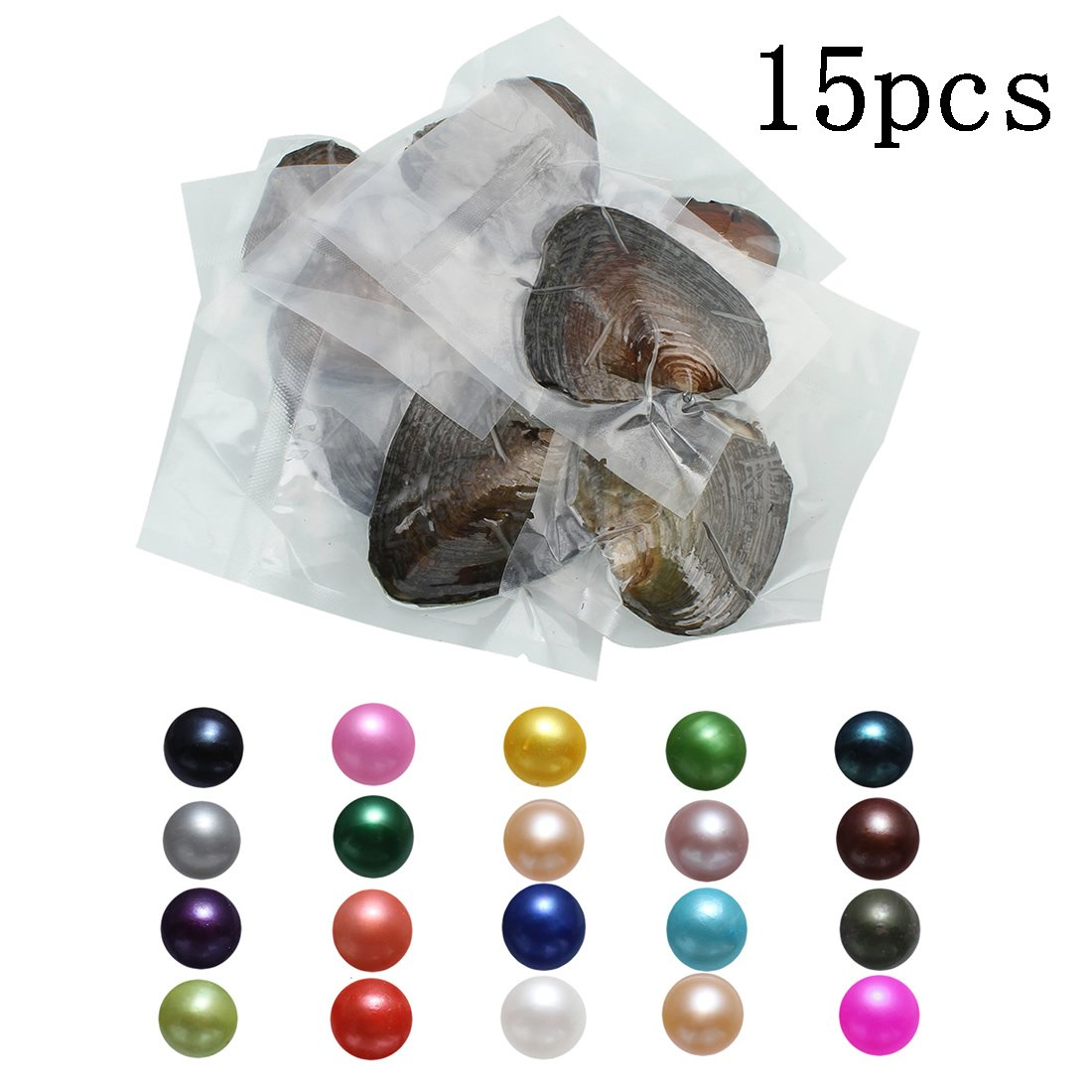 POSHOPS Freshwater Cultured Oyster with Pearl Inside Bulk Fashion Love Wish Pearl Oysters 7-8mm 15 PCS