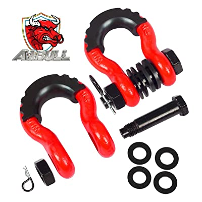 AMBULL Shackles 3/4 Inch D Ring Shackle (2 Pack) 41,850lb Break Strength with 7/8 Inch Pin, Isolator and Washer Kits for Use with Tow Strap, Winch, Off-Road Jeep Truck Vehicle Recovery, Red: Automotive