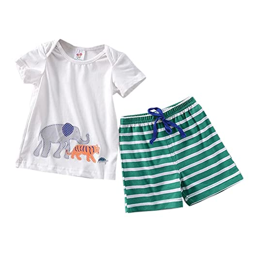 fb5c4020 PENATE Baby Boy Summer 2 Pcs Cartoon Animal Cotton Short Sleeve  T-Shirt+Pants