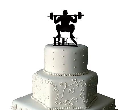 Stupendous Weightlifting Birthday Cake Topper Personalised Cake Topper Personalised Birthday Cards Veneteletsinfo