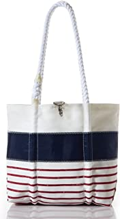 product image for Sea Bags Recycled Sail Cloth Red Mariner Stripe Handbag