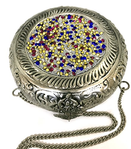 Chain Stylish Silver Antique Clutch Handmade hard Strong Metal with Silver Handbag Purse for Batu Lee Wallet Golden Multi Shape Elipse Women 64qwnp