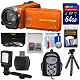 JVC Everio GZ-R440 Quad Proof Full HD Digital Video Camera Camcorder (Orange) with 64GB Card + Backpack + Tripod + 3 Filters + LED Light Kit