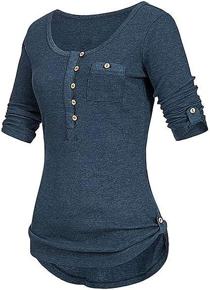 Reooly Bolso para Mujer Cadera Manga Larga Camisa con Botones de ...