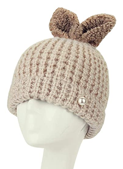 368a1a5dec3 Image Unavailable. Image not available for. Color  Doballa Women s Cute  Pearls Embellished Rabbit Ears Skull Cap Knit Hat