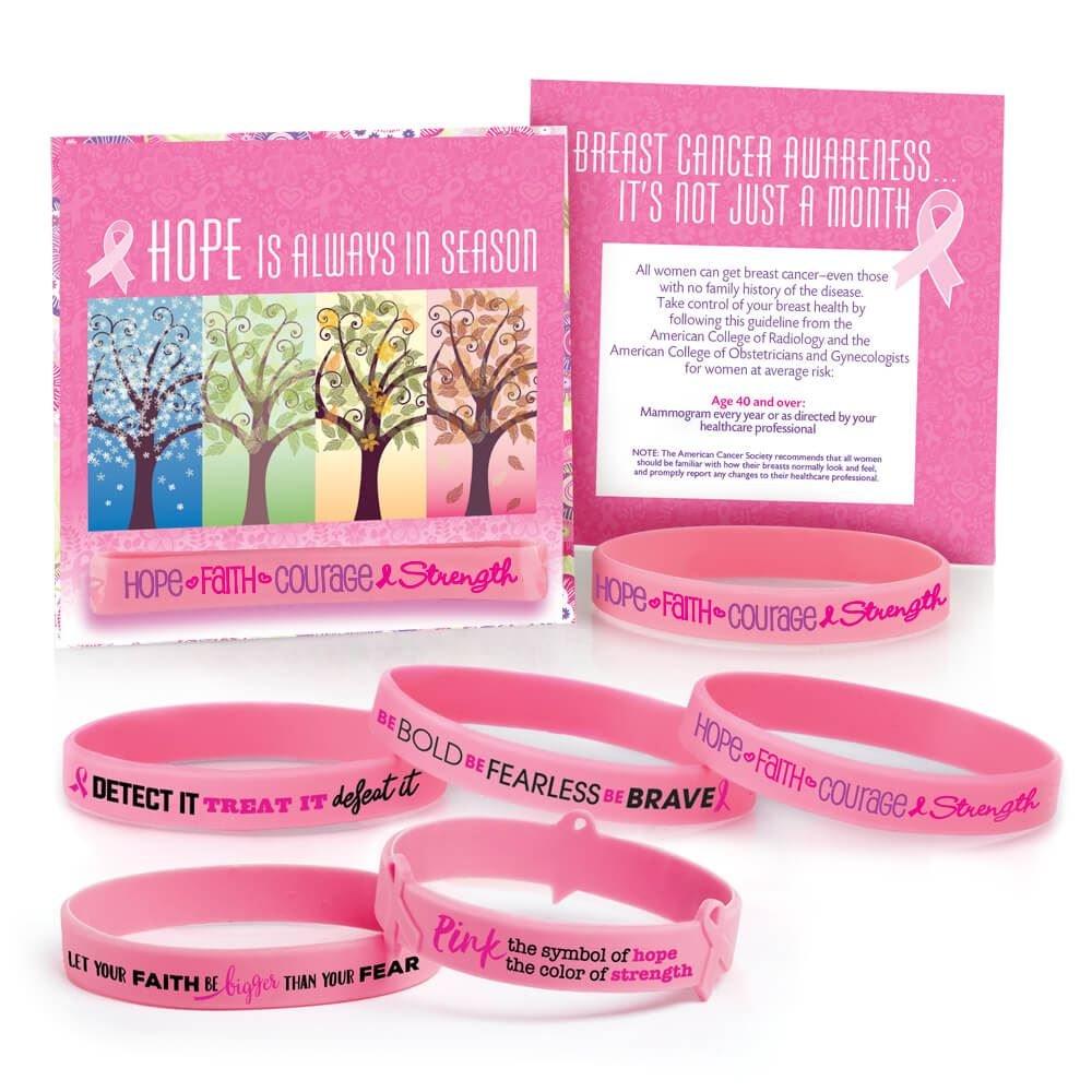 Breast Cancer Awareness: Assorted Pink Silicone Bracelets- 50 Bracelets Per Pack