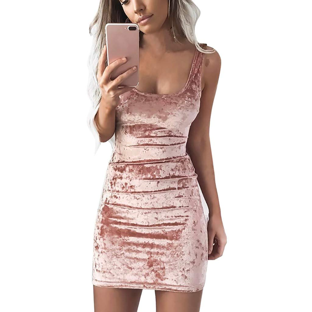 Libermall Women's Dresses Sexy Square Collar Pleuche Evening Party Club Mini Dress Beach Sundress Pink