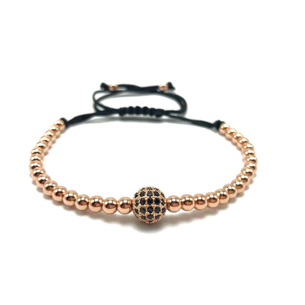 Micro Pave 8mm CZ Macrame Braided Bracelet with 4mm Round Copper Beads by MayaBracelets (Rose Gold)