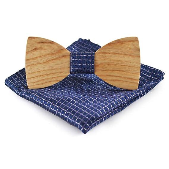 336ae4e50ba8 Men Wooden Classic Bow Tie Set Handmade Men's Wedding Party Wooden Bow Tie  Kerchief Set: Amazon.in: Clothing & Accessories