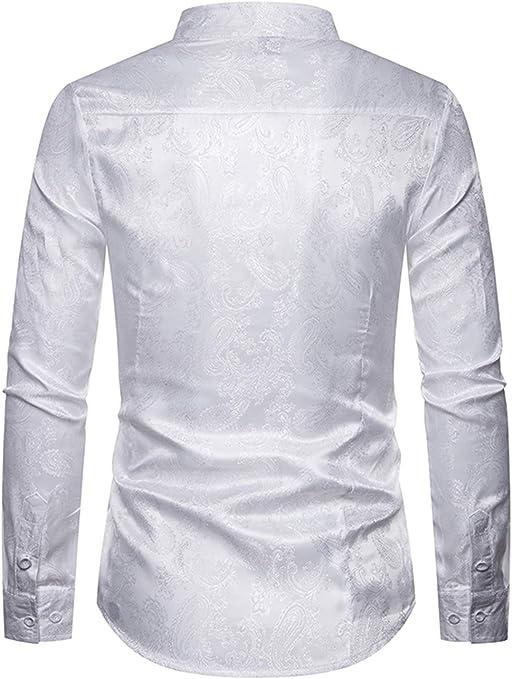 WHATLEES - Camisa asimétrica para hombre, de satén, diseño de cachemira: Amazon.es: Ropa y accesorios