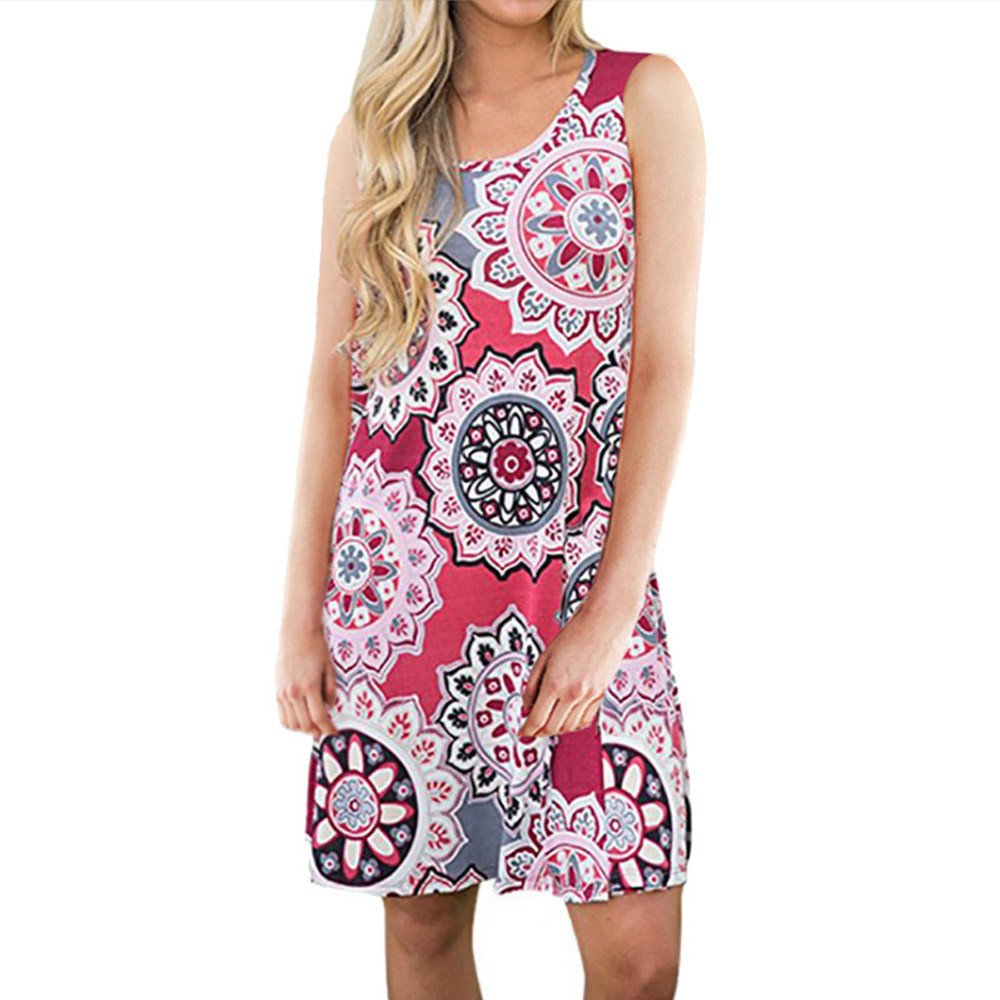 KYLEON Women Dresses Summer Boho Floral Printed Dress Swing Beach Vintage Short Mini Dress Tank Casual Pockets Sundress Red