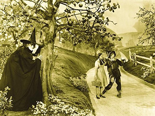 (Buyartforless The Wizard of Oz 1939 16x12 Movie Art Print Poster Photograph Wicked Witch Dorothy and Scarecrow on Yellow Brick Road)