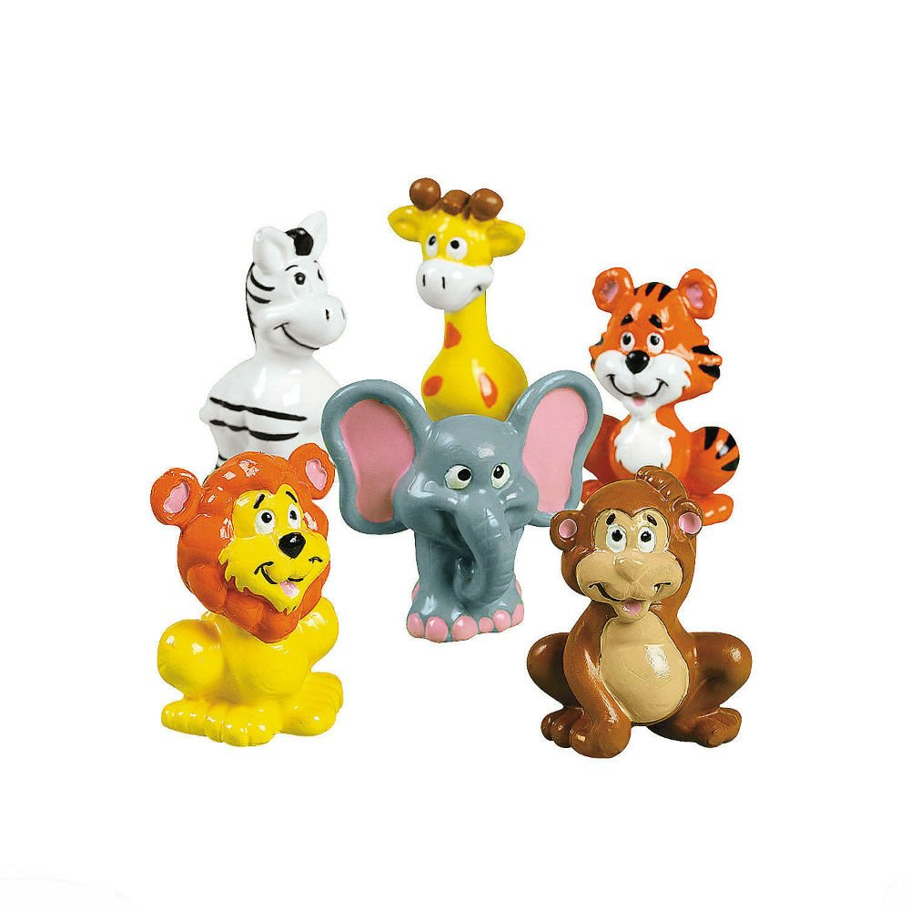 12 Birthday Party Favors ZOO SAFARI ANIMALS Cake Cupcake Toppers Figures U.S Top Seller! by Unbranded
