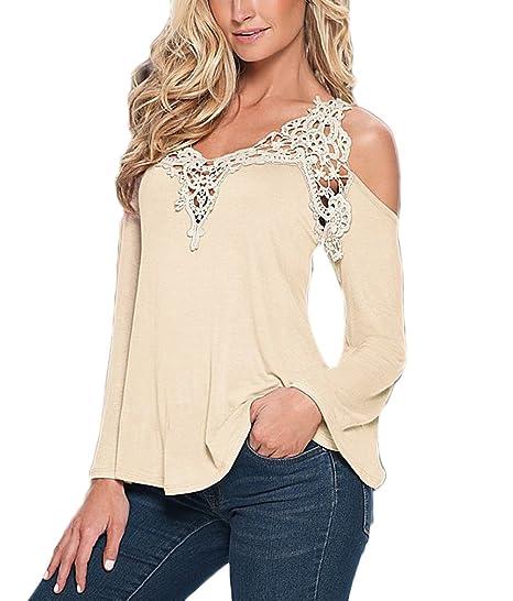 ... Tirantes Splice Encaje V Cuello Primavera Otoño Oversize Blusas Deporte Casual T-Shirt Ropa Dama Juvenil Moderno Blusones: Amazon.es: Ropa y accesorios