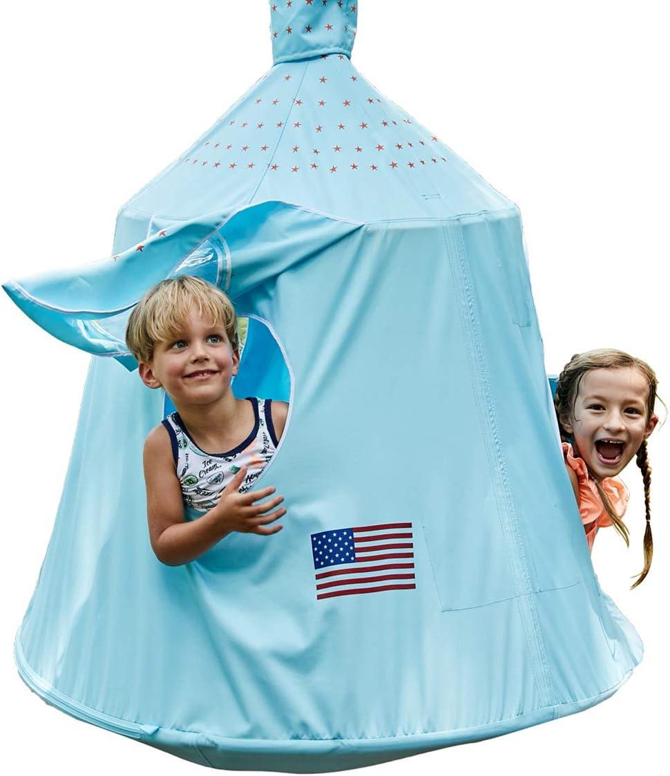HAPPYPIE Kids Outdoor Waterproof Tree Play Tent, Hanging Space Capsule Swing Hammock, Ambient Lights Installation Accessories Included Sky Blue