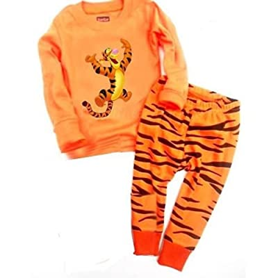 2018 Cotton Cartoon Tiger Kids Pajama Sets 2T-7T Clothes Boys Sleepwear