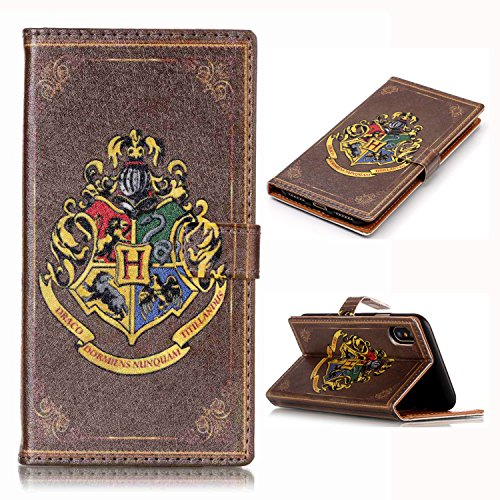 iPhone X Wallet Case, iPhone X Cover - Antique Book Style Pattern Slim Wallet Card Flip Stand PU Leather Pouch Case Cover for Apple iPhone X 2017 Cool as Great Gift
