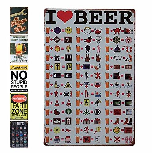 (HANTAJANSS Metal Signs for Bar I Love Beer Menu Tin Sign Vintage Store Hang Decoration 12 X 8 Inches)