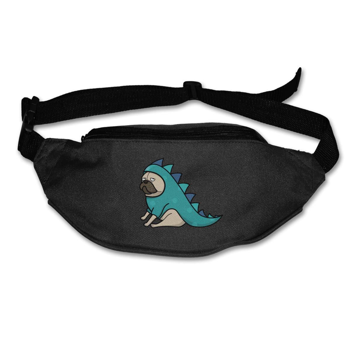 Dinosaur Pug Dog Sport Waist Packs Fanny Pack Adjustable For Hike