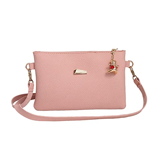 c3b7dfe39f24 Amazon.com  OURBAG Women Handbag Shoulder Bags Tote Purse with Bear Hanging  Pink Medium  Shoes