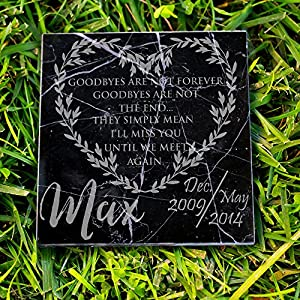 P Lab Personalized Natural Pet Memorial Stone I'll Miss You Until Customized Headstone Marker #7