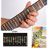 Guitar Fretboard Note Decals Fingerboard Frets Map Sticker for Beginner Learner Practice Fit 6 Strings Acoustic Electric Guitar FineFun (Black)
