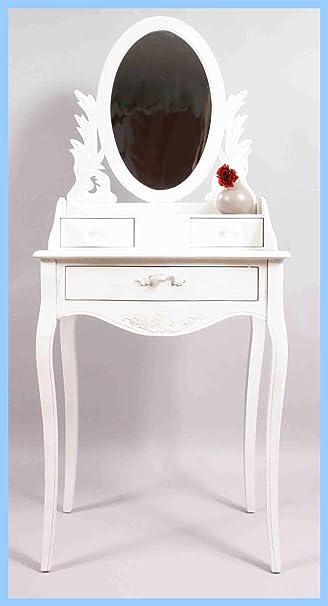 Schminktisch mit Spiegel in weiß | Landhaus Impressionen: Amazon.de ...
