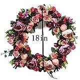 "Door wreath Silk Rose Flower Head Home Decor (Pink+Purple(18""))"