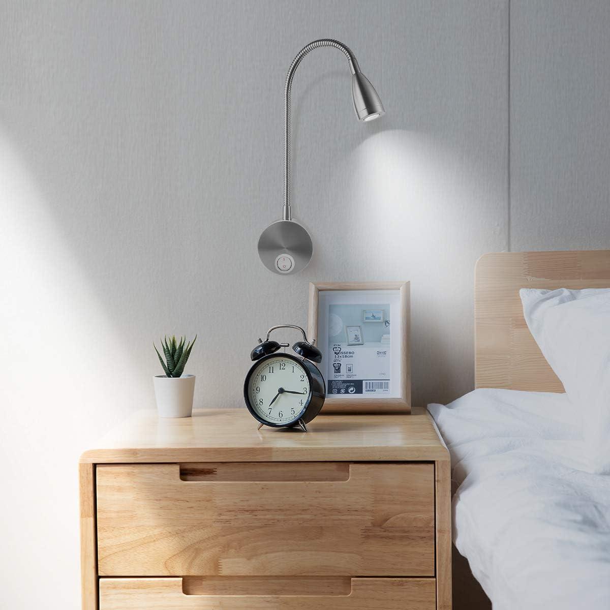 Rosenice AC 85 265V 3W 360/Degree Flexible LED Wall Reading Lamp Warm White Light