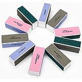 Adecco LLC 10 pcs Nail Buffer, 4 Way Colorful Nail Art Shiner Polisher Buffing Sanding Files Block Manicure Care DIY