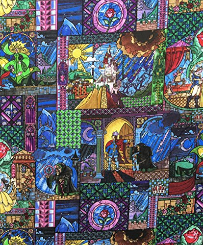 Disney Beauty and The Beast Fabric, Beauty and The Beast Stained Glass Fabric, Fabric by the Yard - Stained Glass Fabric