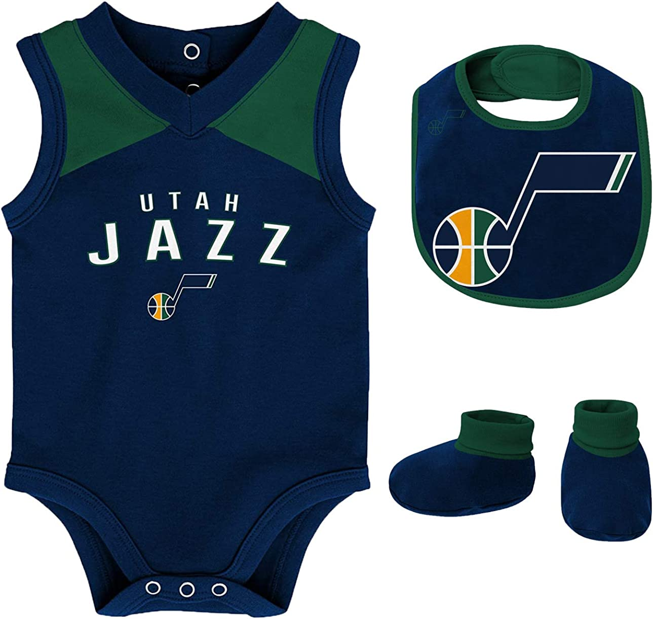 Outerstuff NBA Newborn Infants Overtime 3 Piece Creeper, Bib and Booty Bodysuit Set: Clothing