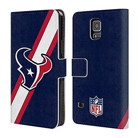 Official NFL Stripes Houston Texans Logo Leather Book Wallet Case Cover For Samsung Galaxy S5 / S5 (Houston Texans Samsung S5 Case)