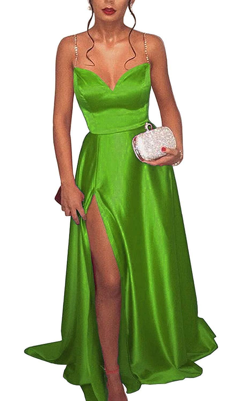 Lime Green tutu.vivi Women's Beaded Spaghetti Straps Satin Long Prom Dresses VNeck Evening Gowns with Slit