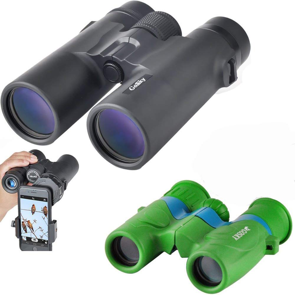 Gosky Compact Parent-Child Binoculars Kits - 10x42 HD Professional Binoculars for Adults &6x21 Lovely Green Folding Binoculars for Kids - Best Gift for Father & Kids for Hiking Camping Travel Outdoor by Gosky