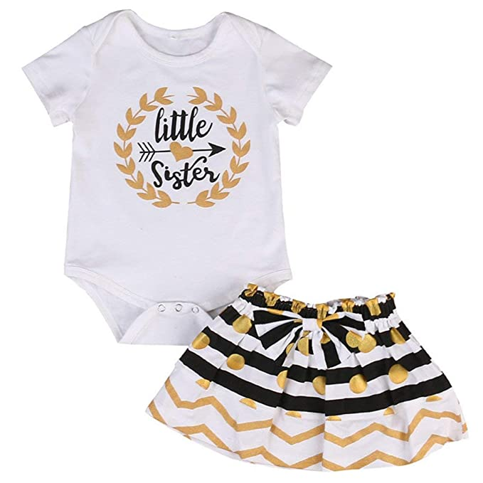5983398ef Amazon.com: Little Sister Big Sister Matching Onesie Newborn Outfits Baby  Girl T Shirt Set Bodysuits Long Sleeve Kids Clothes Shirts: Clothing