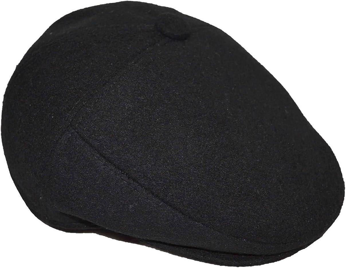 Newhattan Men's 100% Melton Wool 7 Panels Ivy Apple Cap Hat Black