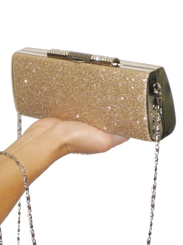 ICE (2316) metalic sparkle clutch diamante tube bag champagne gold