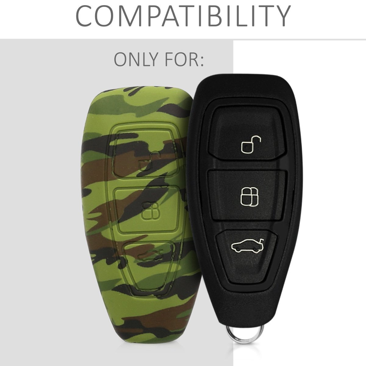 kwmobile Car Key Cover for Ford Blue//Black Silicone Protective Key Fob Cover for Ford 3 Button Car Key Keyless Go