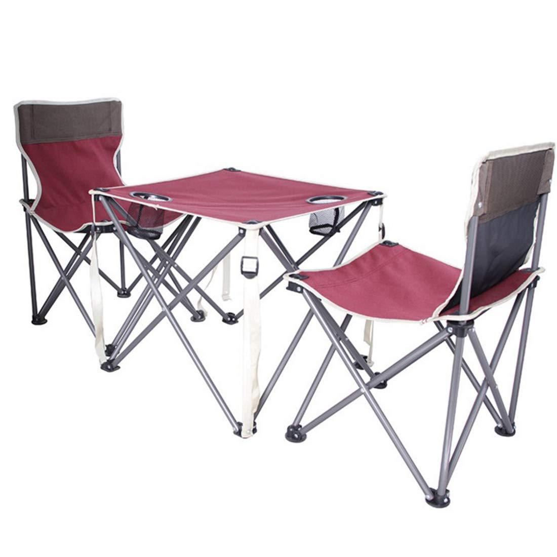 FUBULECY Faltender Strand-Tisch und Stuhl-Sätze im Freien Freizeit-kampierender Stuhl und DREI Sätze Sketch Stühle Rotwein