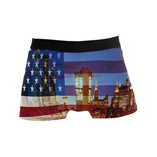94f954061e SLHFPX Mens Boxer Briefs American Flag New York City Soft Bikini Breathable  Underpants Stretch Low Rise