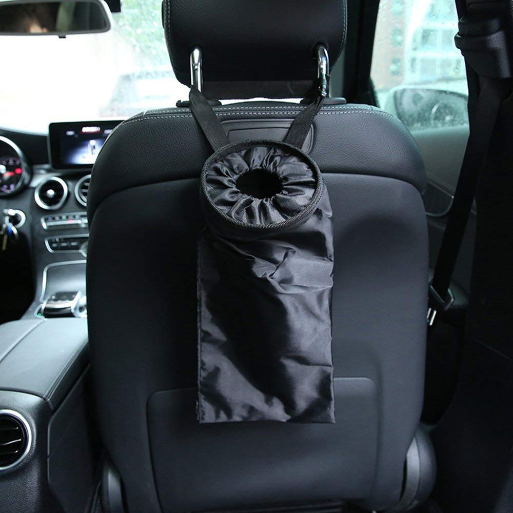 Portable Car Seat Back Garbage Bag Car Car Trash Can Leak-Proof Dust Holder Black