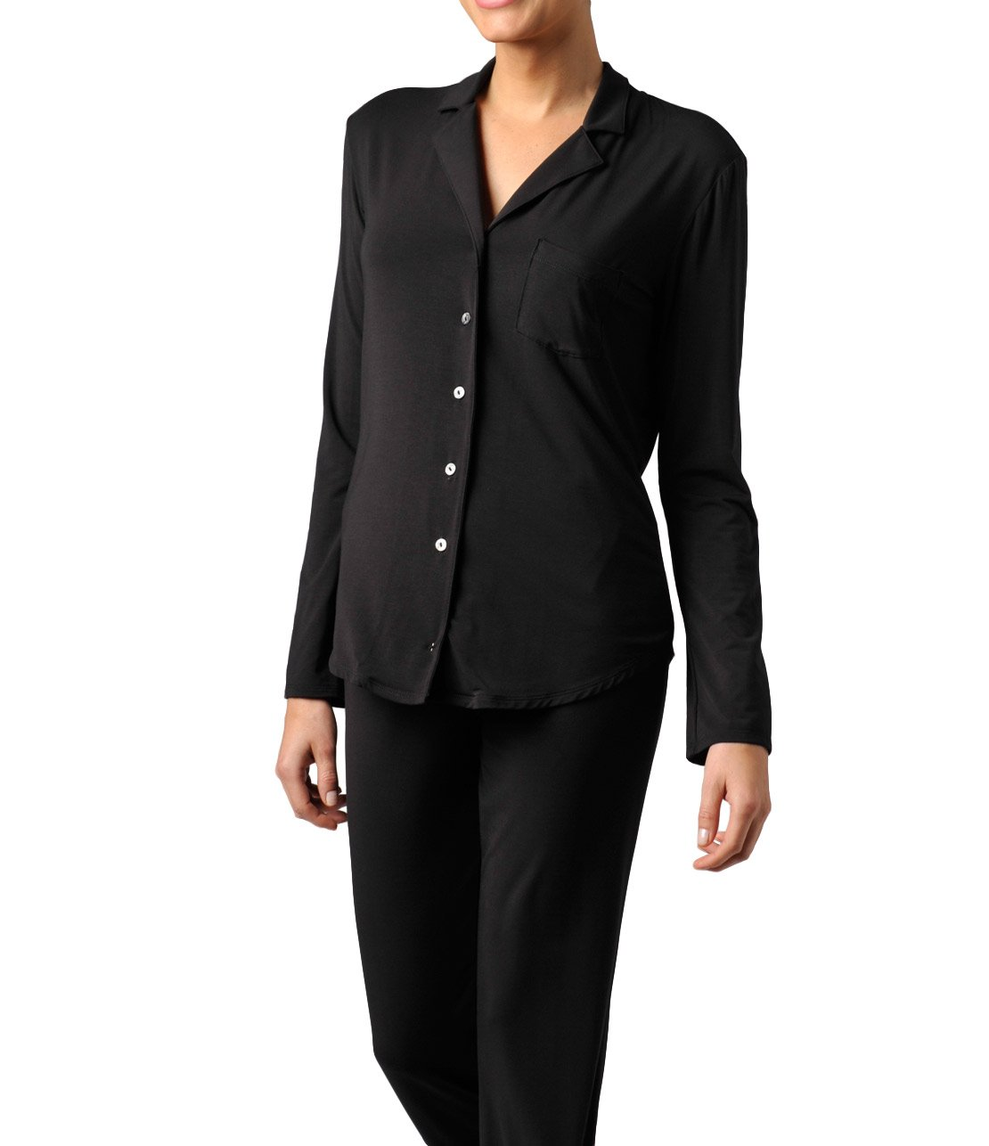 Naked Women's MicroModal Luxury Pajama Set - Sleepwear & Loungewear For Women - Black, Large by Naked