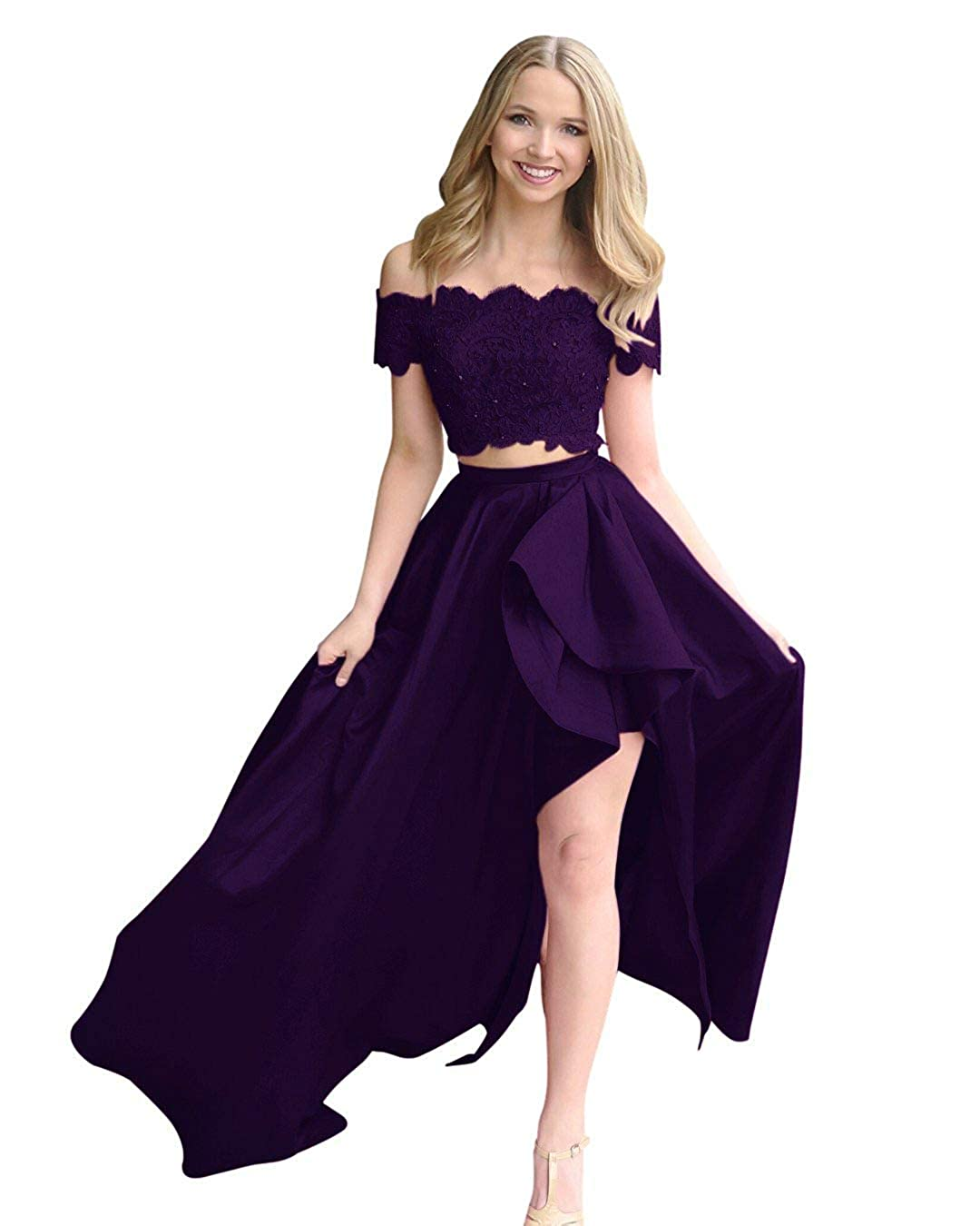 Grape Fanciest Women's Two Pieces Lace Prom Dresses Long Formal Evening Party Dress